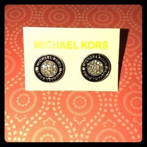 MK Black & Silver tone crystal pave earrings
